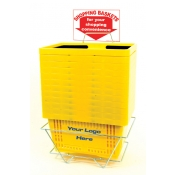 Custom Shopping Baskets (12 Basket Set) Yellow Standard-Size, Heavy-Duty, Shopping Baskets/Plastic Handles