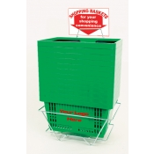Custom Shopping Baskets (12 Basket Set) Green Standard-Size, Heavy-Duty, Shopping Baskets/Plastic Handles