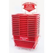 Custom Shopping Baskets (12 Basket Set) Red Standard-Size, Heavy-Duty, Shopping Baskets/Chrome Handles