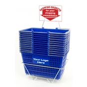 Custom Shopping Baskets (12 Basket Set) Blue Jumbo-Size, Heavy-Duty, Shopping Baskets/Chrome Handles