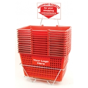 Custom Shopping Baskets (12 Basket Set) Red Jumbo-Size, Heavy-Duty, Shopping Baskets/Chrome Handles