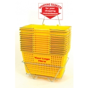 Custom Shopping Baskets (12 Basket Set) Yellow Jumbo-Size, Heavy-Duty, Shopping Baskets/Chrome Handles