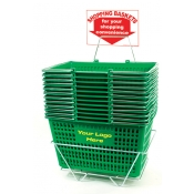 Custom Shopping Basket Set (12 Basket Set) Green Jumbo-Size, Heavy-Duty, Shopping Baskets/Chrome Handles
