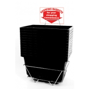 Shopping Baskets (12 Basket Set) Black Jumbo-Size Heavy-Duty Shopping Baskets/Plastic Handles
