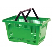 Green Jumbo Shopping Baskets with Plastic Handles (Set of 12)