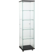 Square Glass Showcase Tower Display in black finish