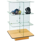 4 - Tier Square Glass Display (Maple)