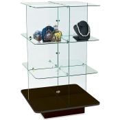 4 - Tier Square Glass Display (Black)