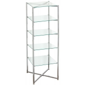 Folding Glass Tower Etageres (5 Glass Shelves)