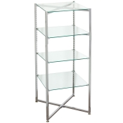 Folding Glass Tower Etageres (4 Glass Shelves)
