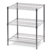 "3-Shelf Wire Storage Rack (24""W x 36""L x 30""H - Chrome)"