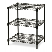 "3-Shelf Wire Storage Rack (24""W x 36""L x 30""H - Black)"