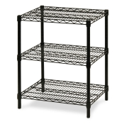 "3-Shelf Wire Storage Rack (24""W x 60""L x 30""H - Black)"