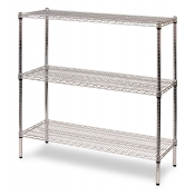 "3-Shelf Wire Storage Rack (24""W x 60""L x 48""H - Chrome)"