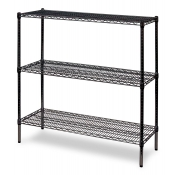 "3-Shelf Wire Storage Rack (24""W x 36""L x 48""H - Black)"