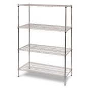 "4-Shelf Wire Storage Rack (18""W x 48""L x 64""H - Chrome)"