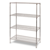 "4-Shelf Wire Storage Rack (24""W x 48""L x 64""H - Chrome)"