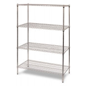 "4-Shelf Wire Storage Rack (24""W x 60""L x 64""H - Chrome)"