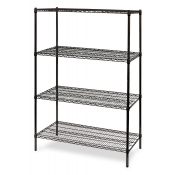 "4-Shelf Wire Storage Rack (18""W x 24""L x 64""H - Black)"