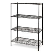 "4-Shelf Wire Storage Rack (18""W x 48""L x 64""H - Black)"