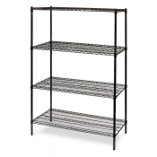 "4-Shelf Wire Storage Rack (18""W x 60""L x 64""H - Black)"