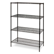 "4-Shelf Wire Storage Rack (24""W x 24""L x 64""H - Black)"