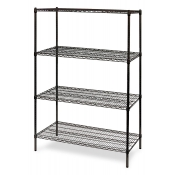 "4-Shelf Wire Storage Rack (24""W x 36""L x 64""H - Black)"