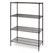 "4-Shelf Wire Storage Rack (24""W x 48""L x 64""H - Black)"