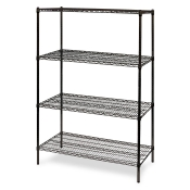 "4-Shelf Wire Storage Rack (24""W x 60""L x 64""H - Black)"