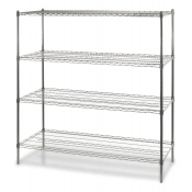 "4-Shelf Wire Storage Rack (18""W x 24""L x 72""H - Chrome)"