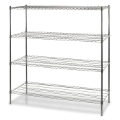 "4-Shelf Wire Storage Rack (18""W x 36""L x 72""H - Chrome)"