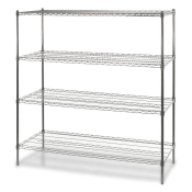"4-Shelf Wire Storage Rack (18""W x 48""L x 72""H - Chrome)"