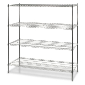 "4-Shelf Wire Storage Rack (18""W x 60""L x 72""H - Chrome)"