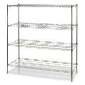 "4-Shelf Wire Storage Rack (24""W x 24""L x 72""H - Chrome)"