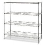 "4-Shelf Wire Storage Rack (24""W x 48""L x 72""H - Chrome)"