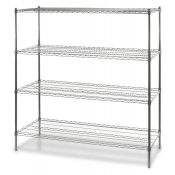 "4-Shelf Wire Storage Rack (24""W x 60""L x 72""H - Chrome)"