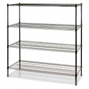 "4-Shelf Wire Storage Rack (18""W x 24""L x 72""H - Black)"