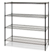 "4-Shelf Wire Storage Rack (18""W x 36""L x 72""H - Black)"