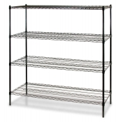 "4-Shelf Wire Storage Rack (18""W x 48""L x 72""H - Black)"