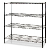 "4-Shelf Wire Storage Rack (18""W x 60""L x 72""H - Black)"
