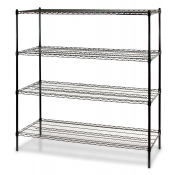 "4-Shelf Wire Storage Rack (24""W x 36""L x 72""H - Black)"