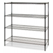 "4-Shelf Wire Storage Rack (24""W x 48""L x 72""H - Black)"