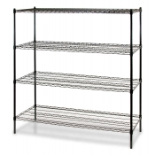 "4-Shelf Wire Storage Rack (24""W x 60""L x 72""H - Black)"