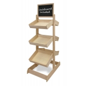 2-Sided Wooden Basket Merchandiser with Chalkboards