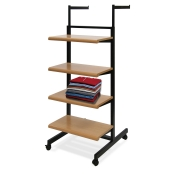 2-Way Rolling Apparel Merchandiser (4 Shelves, 2 Straight Arms)