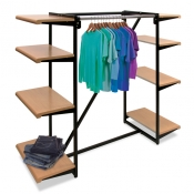 4-Way Apparel Merchandiser Island (8 Shelves, 2 Garment Rails)