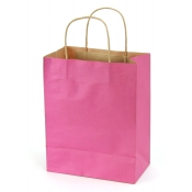 Medium Shocking Pink Kraft Shopping Bags