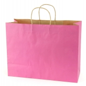 Large Shocking Pink Kraft Shopping Bags