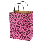 Medium Leopard Pink Kraft Shopping Bags