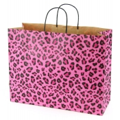 Large Leopard Pink Kraft Shopping Bags